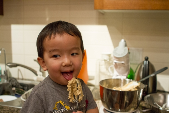 I think Joshua and I both look forward to the dough more than the cookies.