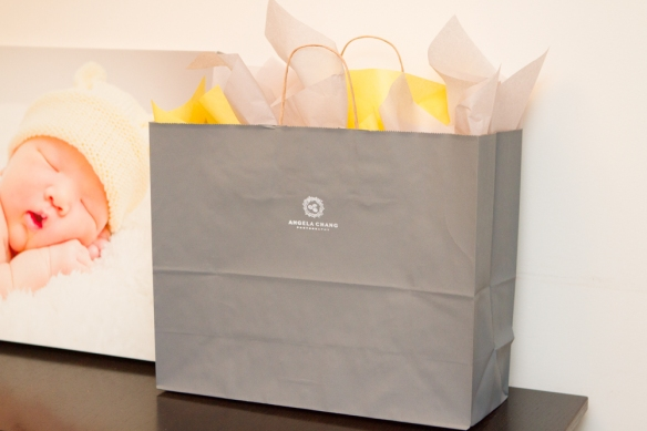 The final look: dark grey paper bag with yellow and grey tissue. Inside the bag: portrait cases, CD case, muslin bag of M&M's, and a thank you card.