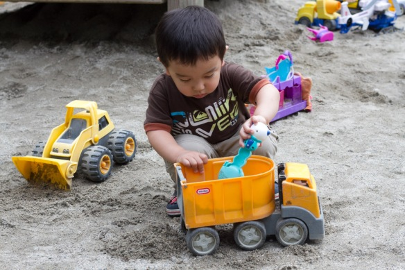 Getting right back to digging in his favorite sandpit.