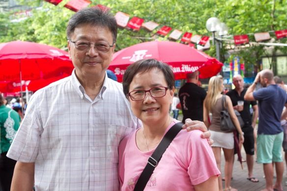 My parents at the Beer Fest in HK.