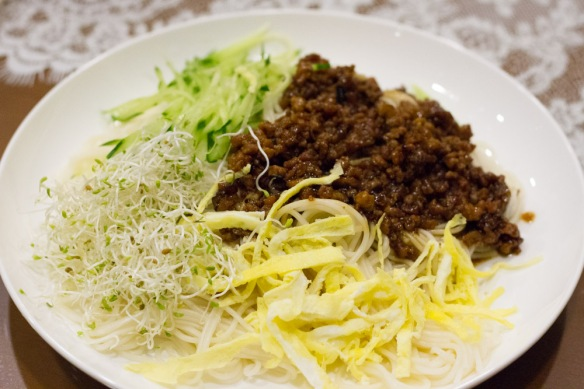 Chinese meat sauce and noodles.