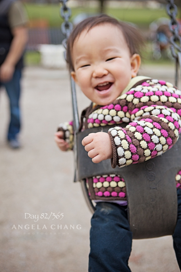 Day 82/365: This photo breaks so many rules--out of focus, chopped off feet of subject, floating leg in background--but I love it because she was so happy!