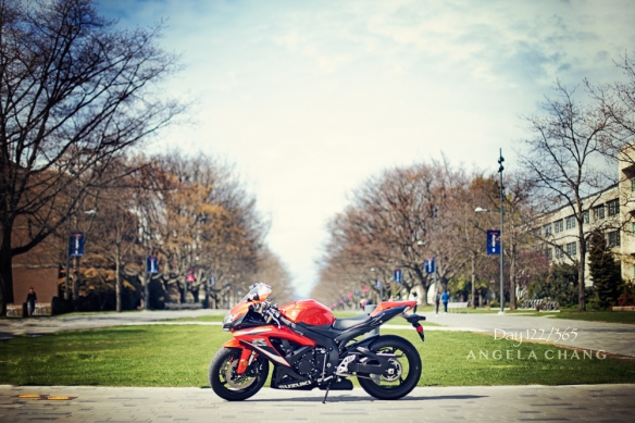 "This is my riding buddy's very hot crotch rocket. We rode down a ""no entry"" road and onto the pedestrian-only area, risking our butts for this shot."