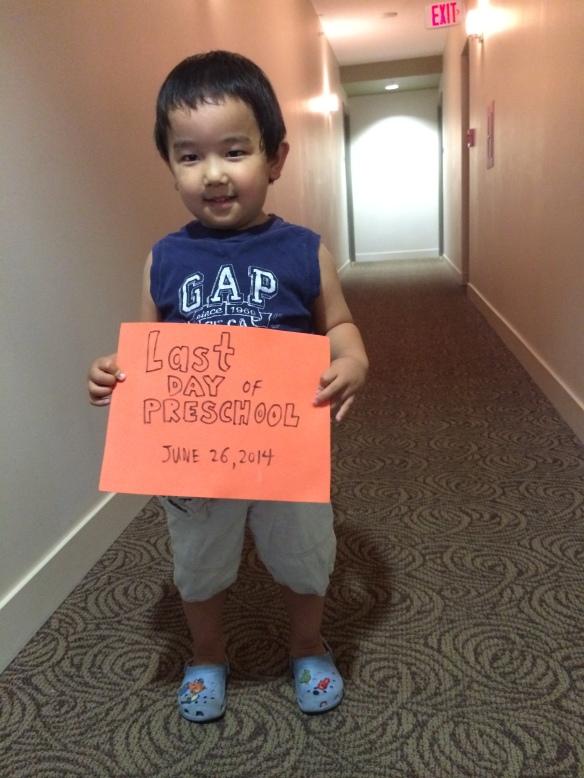 Last day of Preschool, June 26, 2014.