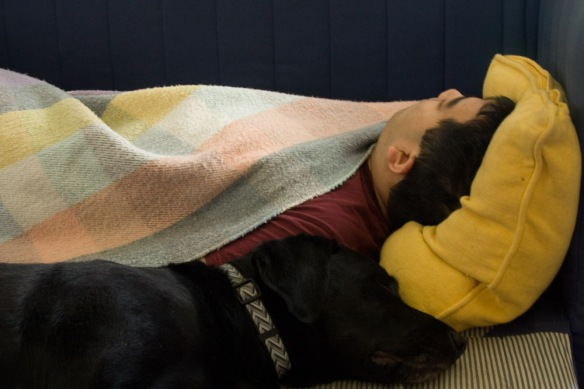 When Sam was recovering from his surgery, Cliff spent a few nights sleeping on the floor next to him to comfort him.
