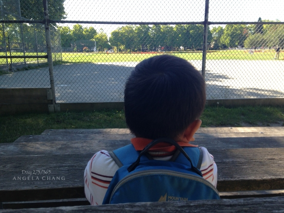 On the way home from school, Josh always wants to sit at the bench and look at the ball field.