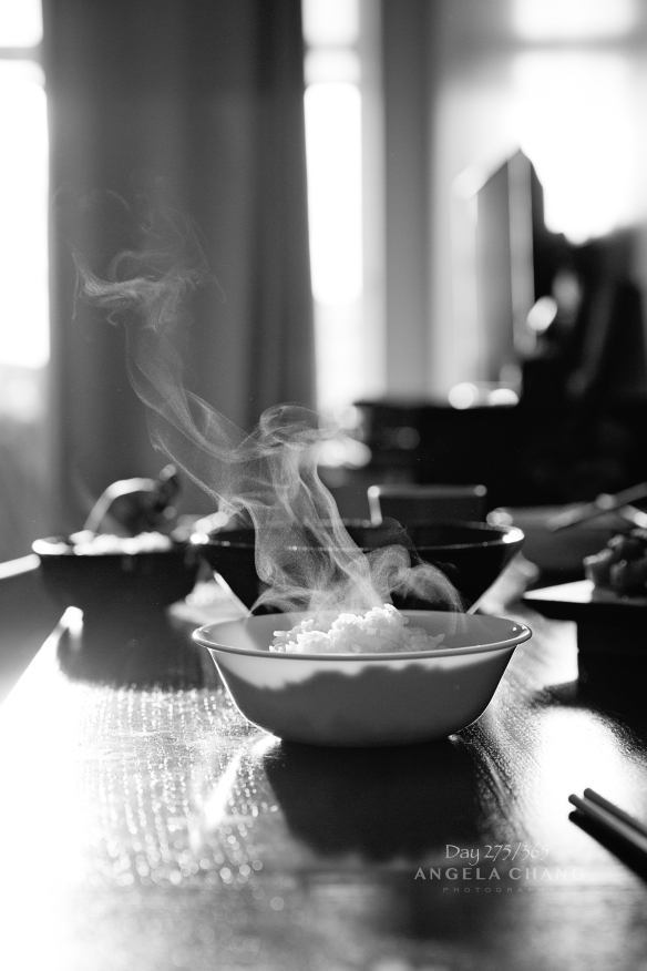 I love the way the late afternoon light highlights the steam coming off my rice.