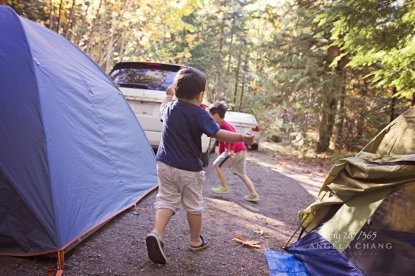 Josh chased his cousin around the campsite during all his waking hours.