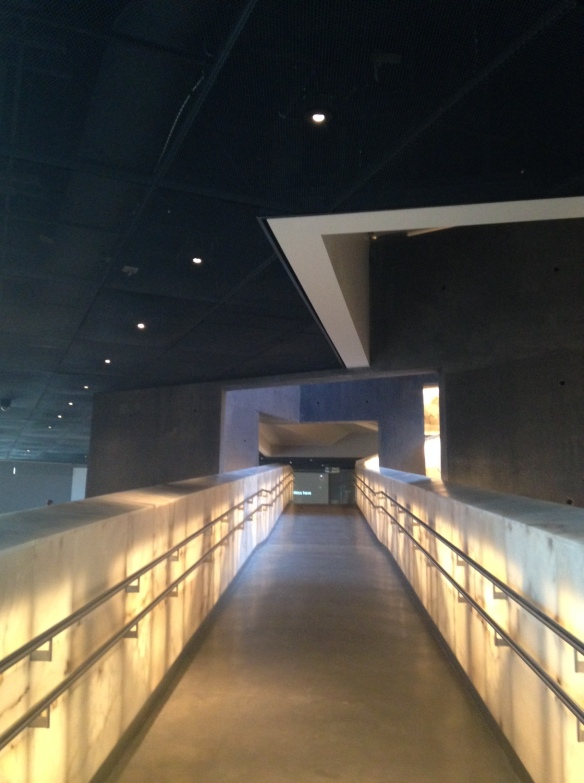All the exhibits are connected by walkways like this.