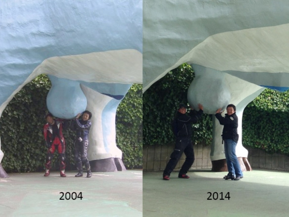 Last, but not least--the same spot, same great friend, and same immaturity--10 years apart.