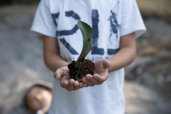 Keanon's pine cone float.